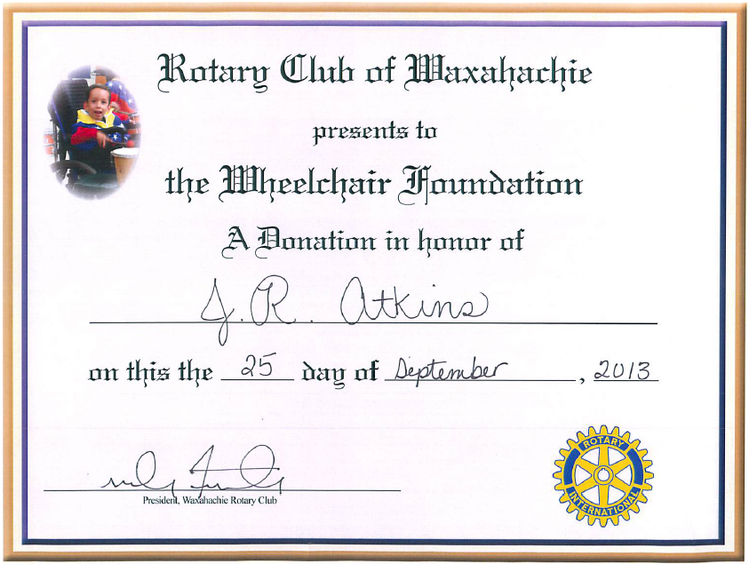 Professional Speaker J.R. Atkins receives recognition from the Waxahatachie Rotary Club