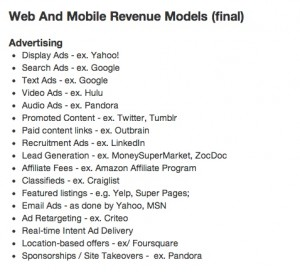Web & Mobile Revenue Models